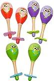 4 Stück _ Rasseln - ' lustige Eulen - bunte Farben ' - aus Holz - für Babys - Kinder & Erwachsene...