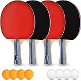 Tischtennis-Set – 4 Premium Tischtennis-Schläger + 8 Tischtennis-Bälle + Aufbewahrungstasche +...