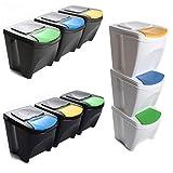 Mülleimer Abfalleimer Mülltrennsystem 60L - 3x20L Behälter Sorti Box Müllsortierer 3 Farben von...