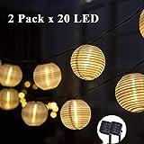 GIGALUMI Solar Lichterkette Lampions 2 Pack 20 LEDs Laterne außen Lichterkette 6m Warmweiß...