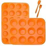 Silikon Muffin Backblech für 12+24 Muffins, Muffinblech aus Silikon, LFGB Zertifiziert Muffinform...