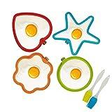 4er Silikon Spiegeleiform Set für Bratpfanne,KATOOM Ei Ringe Silikon Pfannkuchenform Eierform in...