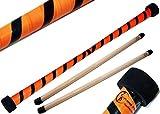 TWIST Devilstick (Orange/Schwarz) inkl. Holz Handstäbe mit 2 mm Silikonmantel von Flames N Games...