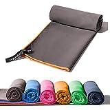 Mikrofaser Handtücher in 130x80cm /Grau/Orange – klein, leicht und ultra saugfähig - das...