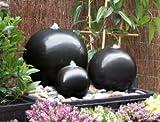 Dreifacher Kugelbrunnen aus Keramik mit LED-Lichtern