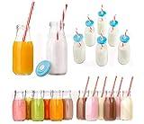 Retro Milch Flasche trinken Glas 6er Set mit wiederverwendbar Trinkhalme & Deckel wiederverwendbar...
