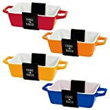 Set Of 4 Rectangular Bright-coloured Small Oven To Table Lasagne/ Pie/ Casserole/ Tapas/ Baking Dish...