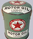 Metall-Hocker oder Aufbewahrungsbehälter, 32 cm, Texas Motoröl – Vintage Retro Werbung Benzin...