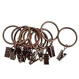 Unbekannt Gardinenringe mit Clips, beschichtet, Metall, 25 mm / 32 mm Durchmesser, Weiß, 12 Stück