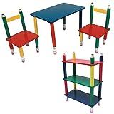 Kinder Möbel Set Tisch Gruppe Stühle Massiv Holz bunt lackiert Spiel Zimmer Mobiliar Stand Regal...