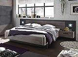 deine-tante-emma 22-510-N9 Palma Havel Eiche NB. / Betonoxid Grau Bett Doppelbett Ehebett Bettanlage...