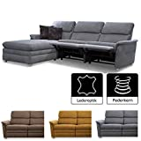 Cavadore 526 Chalsay Couchgarnitur mit Longchair links inkl. Relaxfunktion / mit Federkern /...
