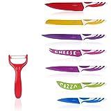 Multifunktions 7-teiliges Küchenmesser von Y&Y Küchenprofi Buntes Messer-Set mit Sparschäler...