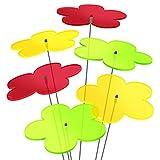 SUNPLAY 'Sonnenfänger-Blumen' 6er Set - 2x Gelb, 2x Grün, 2x Rot - 6 Stück zu je 20 cm...