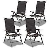 Brubaker 4er Set Gartenstühle Milano - Hochlehner Stühle klappbar - 8-Fach verstellbare...