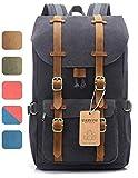 EverVanz Canvas Leder Rucksack Reise Wandern Outdoorrucksack Daypacks für 15 Zoll Laptop großer...