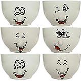 esto24 6er Set Müslischalen Dessertschale 500ml Keramik mit lustigen Gesichtern - Das Highlight auf...