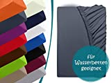 Premium Wasserbett-Spannbetttuch - aus sanforisiertem Baumwoll-Jersey mit 5% Lycra-Anteil -...