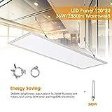 Albrillo LED Panel Deckenleuchte 120x30cm - 2880lm Spuerhelle, Warmweiß 3000K inkl. einstellbare...