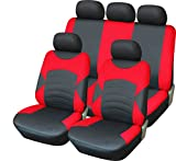 Rhino Automotive© Luxus Full Leder Optik schwarz & rot Sport Sitzbezug-Set RW0004