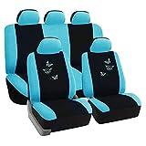 eSituro universal Auto Schonbezug Komplettset Sitzbezüge für Auto mit Butterfly schwarz/blau...