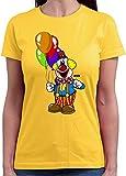 HARIZ  Damen T-Shirt Rundhals Clown Luftballons Fröhlich Karneval Kostüm Inkl. Geschenk Karte Gold...