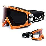 TWO-X Race Crossbrille Villain bunt Glas getönt schwarz grau MX Brille Motocross Enduro...