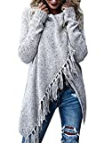ASSKDAN Damen Winter Böhmen Quaste Capes Strickjacke Poncho Pullover Sweater (L, Grau)