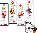 Teekanne Tealounge Kapseln - Früchtetee Sortiment mit 4 Sorten (32 Kapseln) + Claro Swiss...