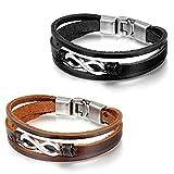 Flongo 2 Stück Leder Echtleder Armband Armreifen Lederarmband Kordelkette Schwarz Braun Silber...
