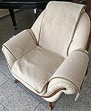 Sesselschoner in Wellenoptik beige, 100% Wolle, Sesselauflage