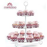 Melidoo 24er Cupcake Muffin Dessert Ständer 3-stöckig | Metall Etagere Weiß, Vintage | Ideal für...