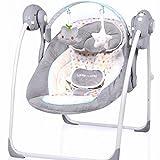 Automatische Elektrische Babyschaukel Little World: Dreamday DOTS grau/creme verstellbar 5...