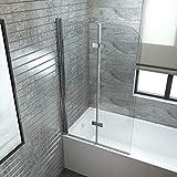 EMKE Duschabtrennung 100x140cm Faltwand für Badewanne, Duschwand Badewannenaufsatz mit 6mm Nano...