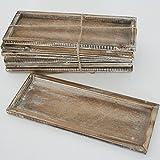 Annastore 6 Stück Holztablett-Gesteckunterlage-Holzschale 25 x 10 cm