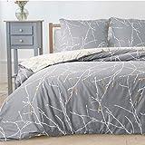 Bedsure Bettwäsche Grau & Beige 200x200cm Bettbezug mit Zweige Muster, Super Weiche Atmungsaktive...