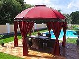 Pavillon Rund, Groten Luxus Hochwertiges Wasserdicht Polyester 350 cm Gartenzelt mit 6 Vorhängen...