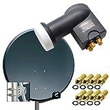 PremiumX Digital HD SAT Anlage 80cm Stahl Schüssel Spiegel Antenne Anthrazit mit PremiumX Quad LNB...