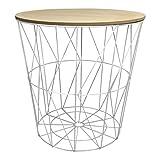 Design Metalltisch weiß rund Metallkorb mit Holzdeckel Tisch Beistelltisch