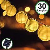 Solar Outdoor Lichterkette 30er 5.5m Led Lampion Laterne Lichterkette Außen Warmweiß...