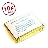 10 x Rettungsdecke, Rettungsfolie, Notfalldecke, Erste- Hilfe- Decke, gold/ silber, 210 x 160