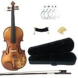 Kinglos 4/4 Blume Geschnitzten Ebenholz Beschläge Massivholz Violine Geige mit Harten Fall,...