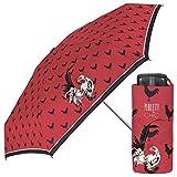Damen Regenschirm ultraklein und ultraleicht - flacher Taschenschirm mit Hähne eindruck -...