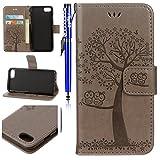 EUWLY Lederhülle für [iPhone 6S/iPhone 6], Retro Baum Eule Hülle Ledertasche Handytasche Leder...