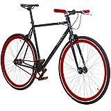 28' Fixie Singlespeed Bike Viking Blade 5 Farben zur Auswahl, Farbe: Schwarz / Rot; Rahmengrösse:...