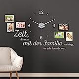 KLEBEHELD Wandtattoo Uhr Familienzeit mit Fotorahmen und Spruch für Wohnzimmer und Wohnbereich...