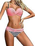 ASSKDAN Damen Bikini Push Up Gepolstert Streifen Tupfen Triangel Brasilianische Bademode Bikini-Sets...