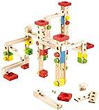 Playtastic Holzkugelbahn: Großer Kugelbahn-Bausatz aus Holz, 100-teilig (Kugelbahn Komplett-Set)