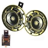 Auto Horn Eletric 12V 135dB super laut High Sound und Low Tone Metall Twin Horn Kit mit Halterung...
