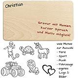 Geschenkissimo Frühstücksbrettchen/Brotzeitbrettchen mit Name, Spruch, Motiv, Logo oder Comic -...